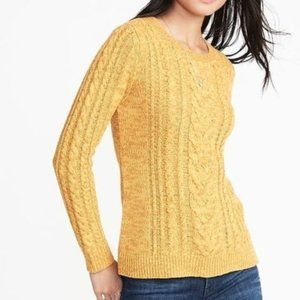 Old Navy Yellow Squash Cabled Pullover Sweater S